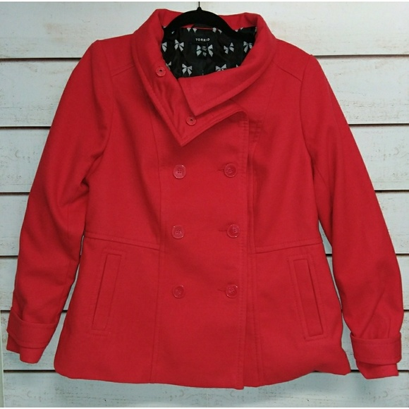 d7fd09c2d2e Torrid Red Double Breasted Pea Coat 10. M 5bb6bbfb0cb5aa84e029abc7. Other  Jackets   Coats ...